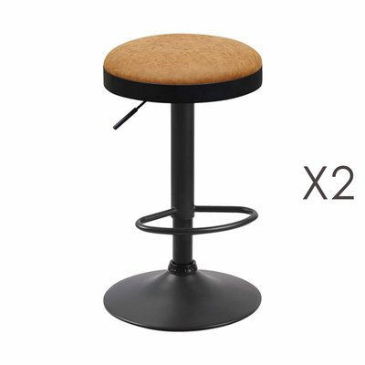 Lot de 2 tabourets en PU moutarde - ZARAY
