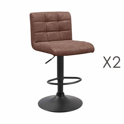 Lot de 2 chaises de bar 50x45,5x88 cm en PU marron - GABIN