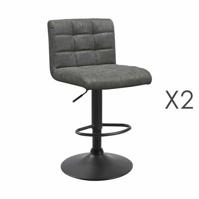 Lot de 2 chaises de bar 50x45,5x88 cm en PU gris - GABIN