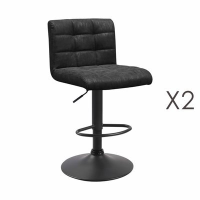 Lot de 2 chaises de bar 50x45,5x88 cm en PU noir - GABIN