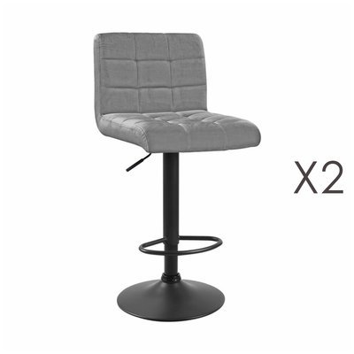 Lot de 2 chaises de bar 50x45,5x88 cm en velours gris - GABIN