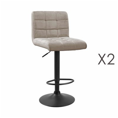 Lot de 2 chaises de bar 50x45,5x88 cm en velours beige - GABIN