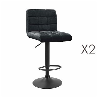 Lot de 2 chaises de bar 50x45,5x88 cm en velours noir - GABIN