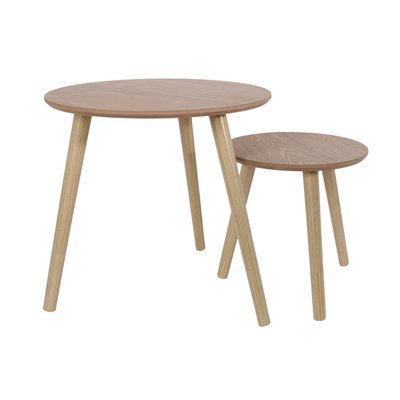 Lot de 2 tables gigognes rondes 48 cm en bois naturel - BALTIC