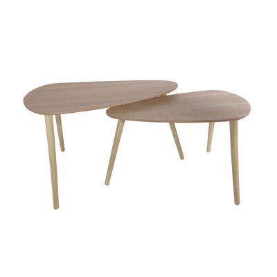 Lot de 2 tables gigognes forme galet en bois naturel - BALTIC