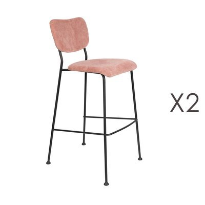 Lot de 2 tabourets de bar en tissu rose - BENSON
