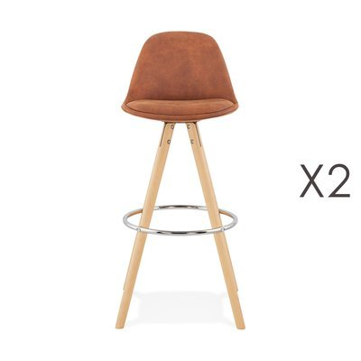 Lot de 2 chaises de bar H75 cm en tissu marron - CIRCOS
