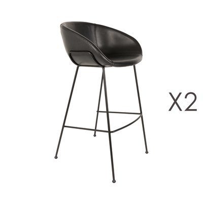 Lot de 2 chaises de bar H76 cm en PU noir - FESTON