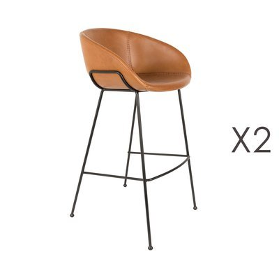 Lot de 2 chaises de bar H76 cm en PU marron - FESTON