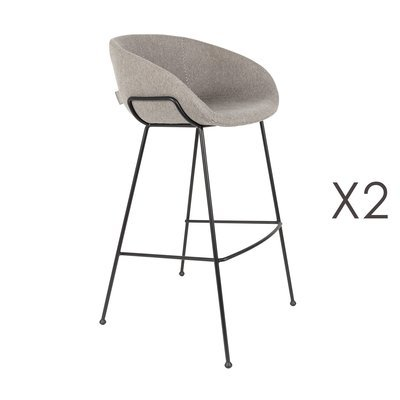 Lot de 2 chaises de bar H76 cm en tissu gris - FESTON