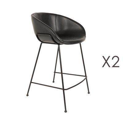 Lot de 2 chaises de bar H65 cm en PU noir - FESTON