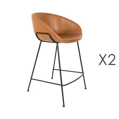 Lot de 2 chaises de bar H65 cm en PU marron - FESTON
