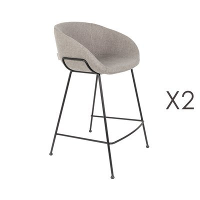 Lot de 2 chaises de bar H65 cm en tissu gris - FESTON