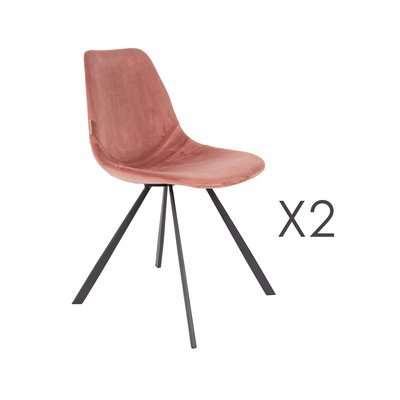 Lot de 2 chaises 46x56x83 cm en velours rose - FRANKY