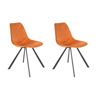 Lot de 2 chaises 46x56x83 cm en velours orange - FRANKY