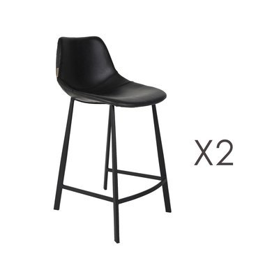 Lot de 2 chaises de bar H65 cm en PU noir - FRANKY