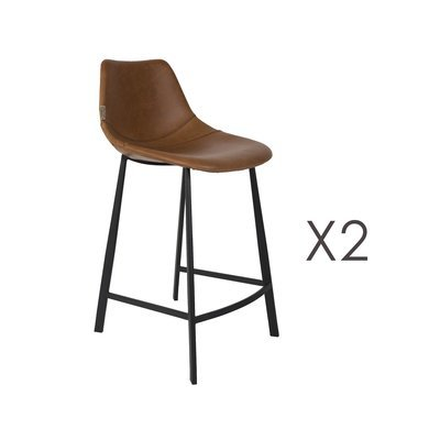 Lot de 2 chaises de bar H65 cm en PU marron - FRANKY