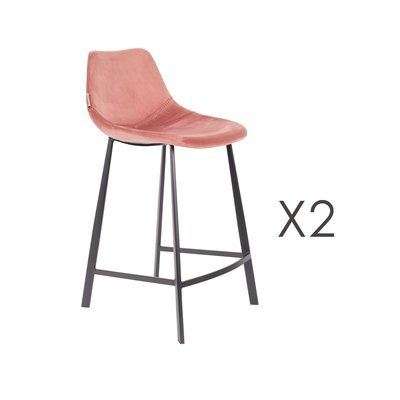 Lot de 2 chaises de bar H65 cm en velours rose - FRANKY
