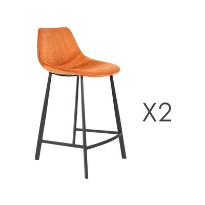 Lot de 2 chaises de bar H65 cm en velours orange - FRANKY
