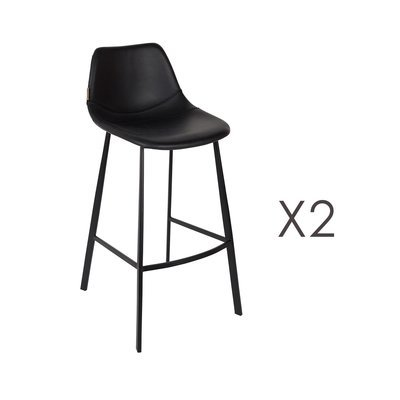 Lot de 2 chaises de bar H80 cm en PU noir - FRANKY