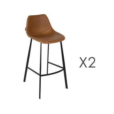 Lot de 2 chaises de bar H80 cm en PU marron - FRANKY
