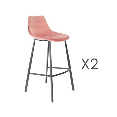 Lot de 2 chaises de bar H80 cm en velours rose - FRANKY