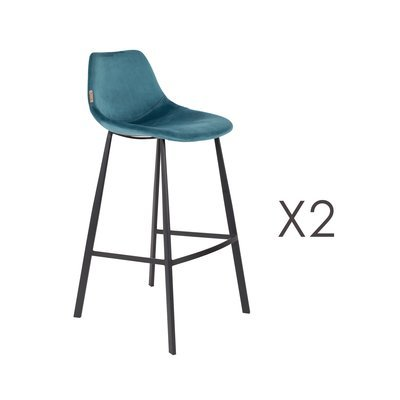 Lot de 2 chaises de bar H80 cm en velours bleu - FRANKY