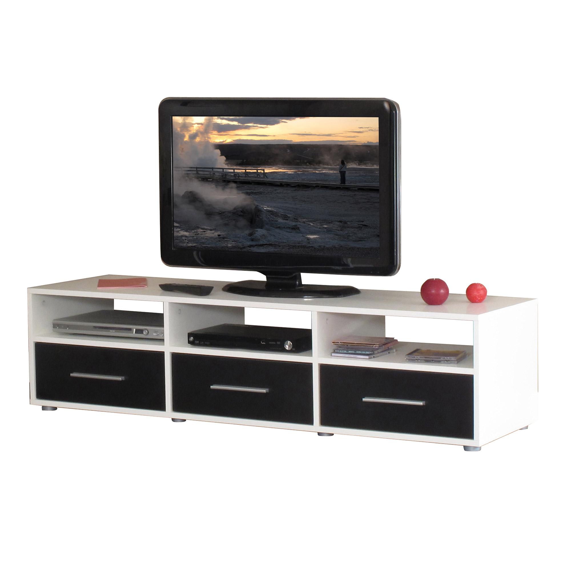 Meuble Tv 100 X 40 : Meuble Tv 3 Niches 3 Tiroirs Blanc Noirebay