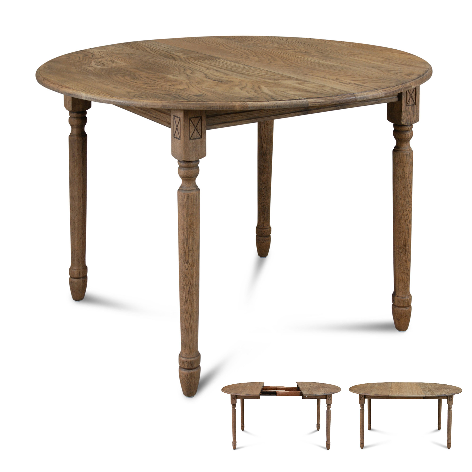 Table ronde 1 allonge centrale pieds tourn s ebay - Table ronde internationale ...