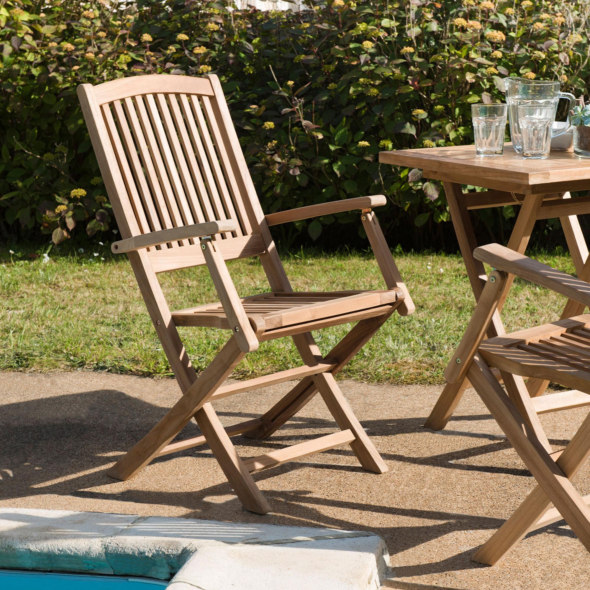 Lot de 2 fauteuils en teck massif - GARDENA