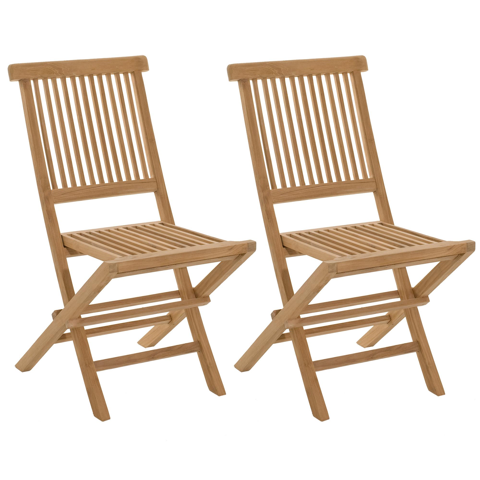Lot de 2 chaises pliantes en teck massif - GARDENA