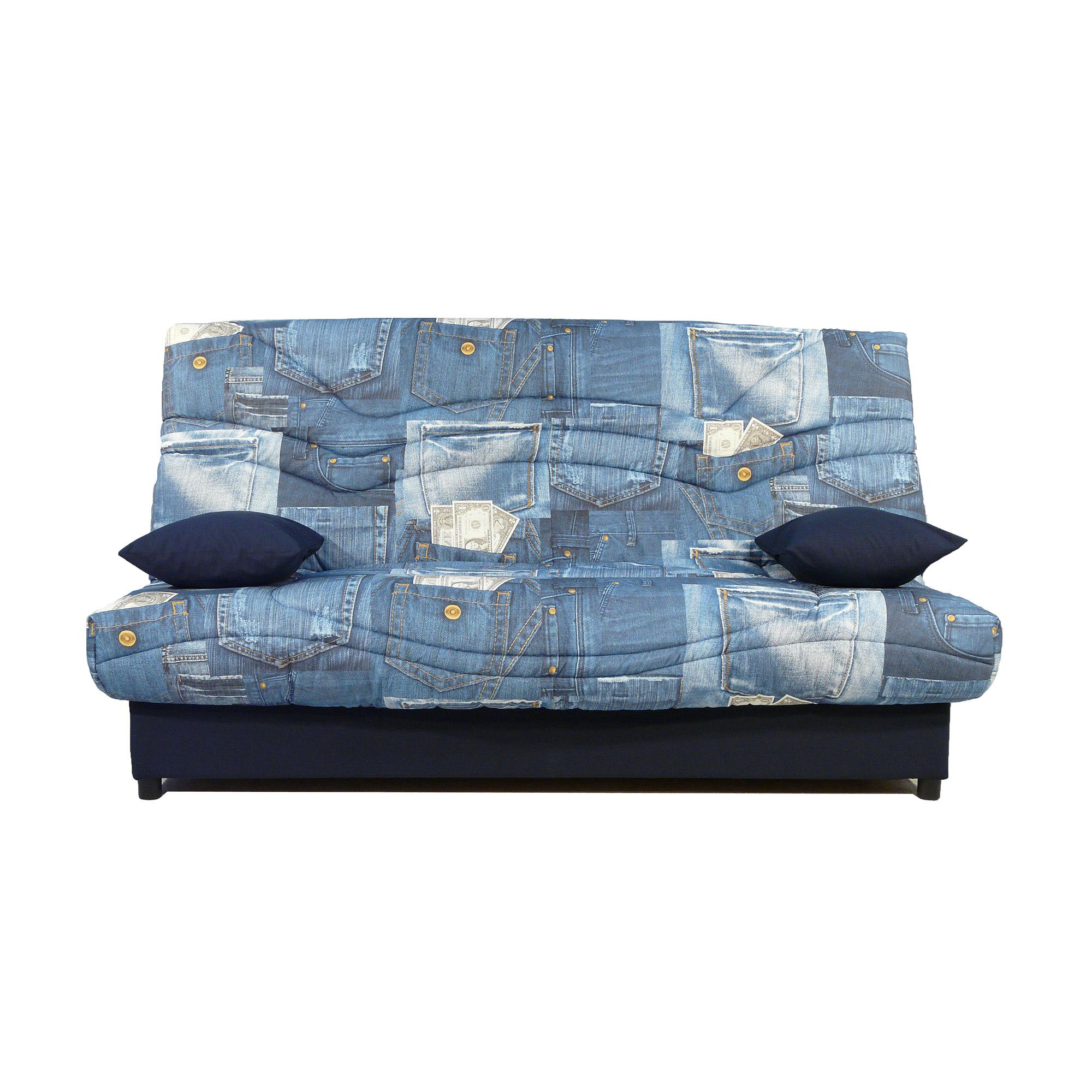Banquette lit clic clac 130cm 26kg motif jeans ebay - Banquette lit couchage quotidien ...