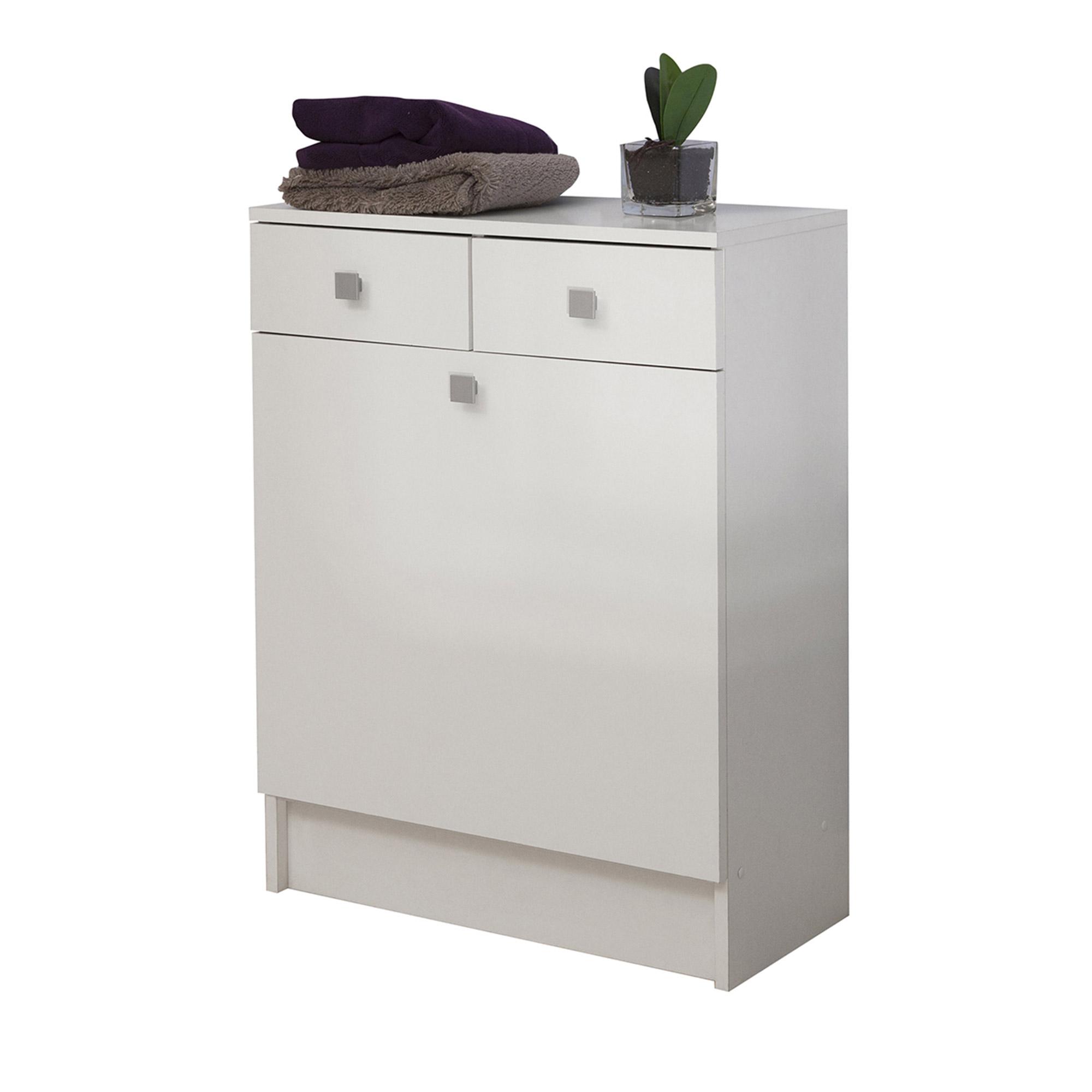 El ment bas salle de bain 2 tiroirs 1 bac linge blanc ebay for Element bas salle de bain
