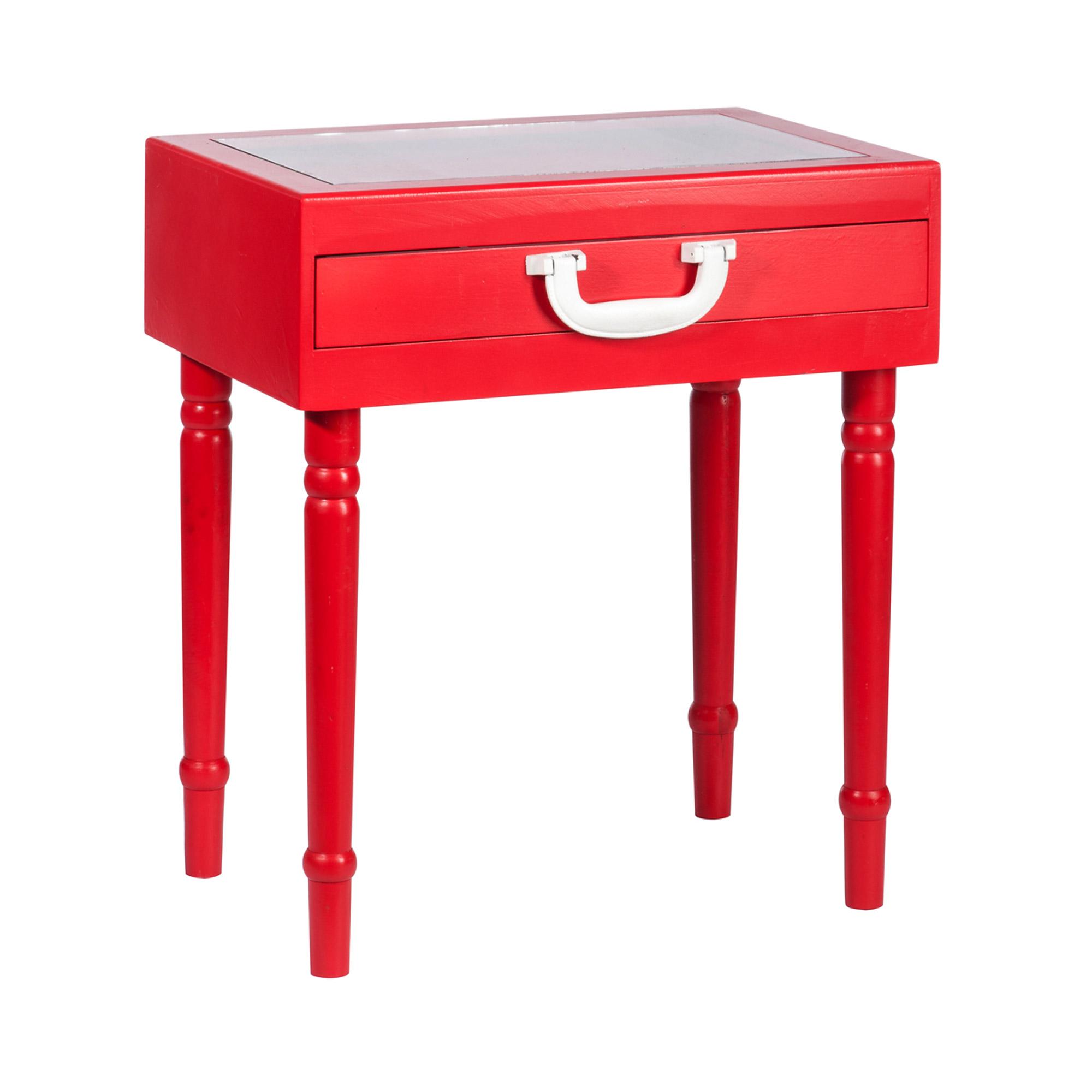 Table de chevet 1 tiroir bois et verre coloris rouge ebay - Table de chevet rouge ...