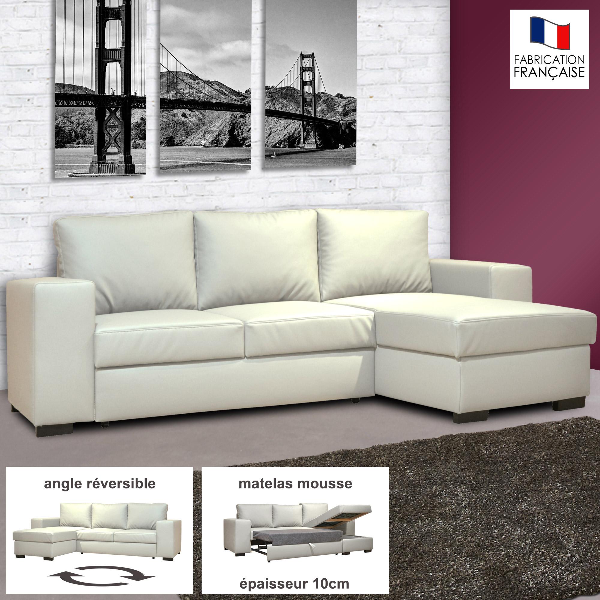 Canap d 39 angle r versible convertible en pu coloris blanc stewart ebay - Canape d angle livraison gratuite ...