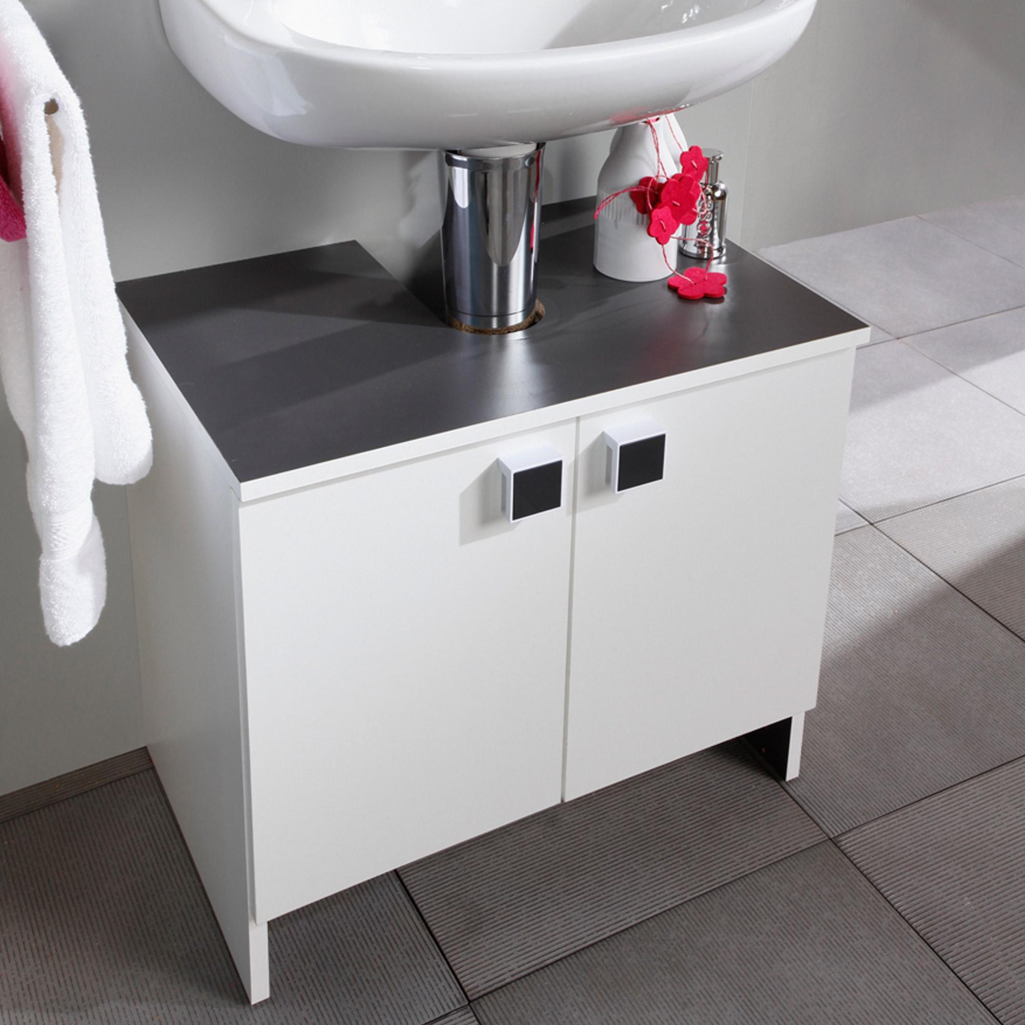 Meuble sous lavabo 2 portes largeur 59cm coloris blanc for Meuble sous lavabo une porte